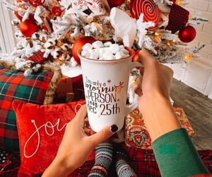 christmas, christmas balls, and coffee cups image