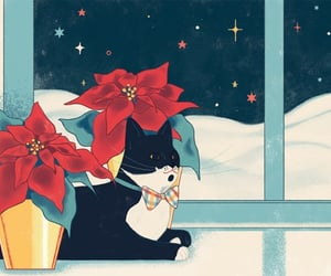 art, christmas card, and kitty cat image