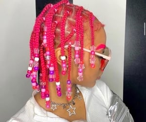 braids, hairstyle, and pink image