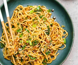 asian food and spicy ramen noodles image