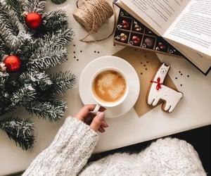christmas, coffee, and book image