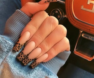nails, beauty, and leopard image