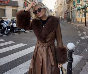 coat, brown, and fashion image