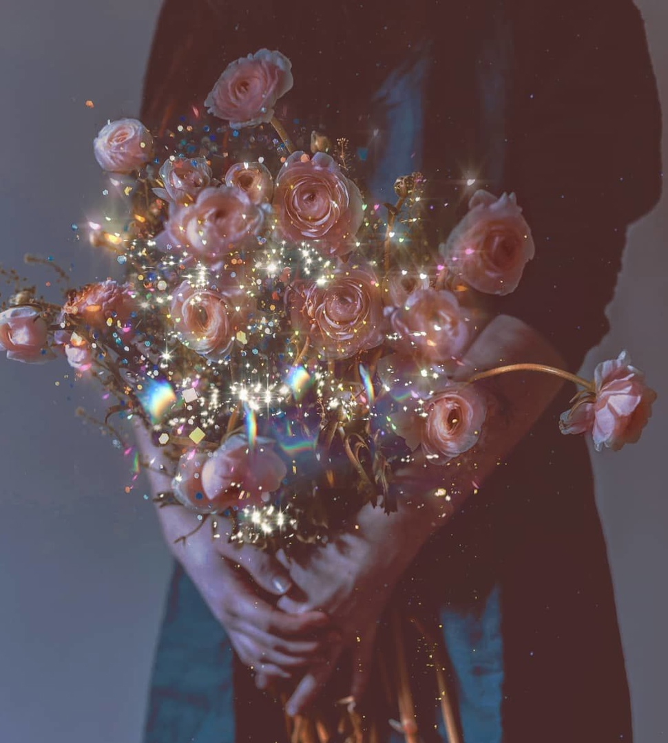 flowers, rose, and glitter image