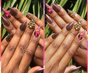 pink nails, metallic nails, and bling nails image