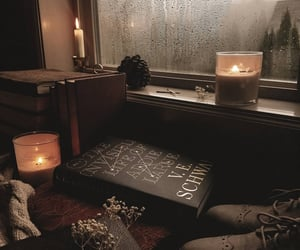 candle, book, and autumn vibes image