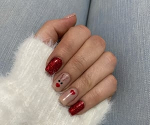 girl, nails, and rudolph image