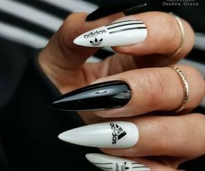 fashion, stiletto nails, and adidas image