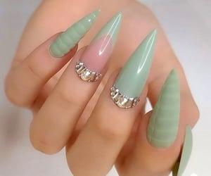 green nails, gel nails, and nail design image