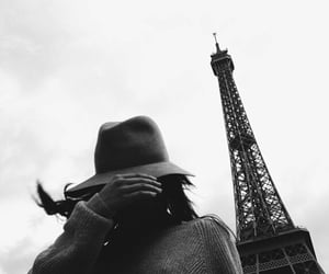 black and white, girl, and eiffel tower image