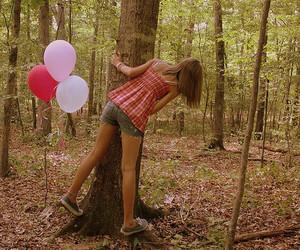 ballon, girl, and tree image