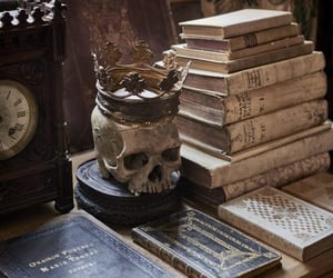 book, skull, and dark academia image