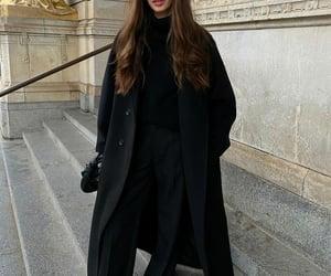20, black coat, and black pants image