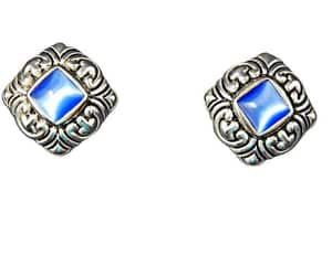 chunky, ornate, and blue earrings image