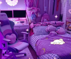room, purple aesthetic, and gamer room image