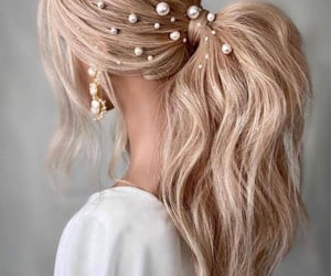 hair, hair style, and blonde image