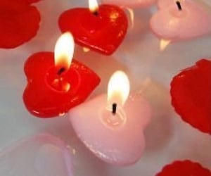 red, candle, and pink image