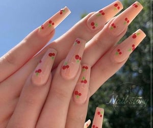 nails, cherry, and pink image