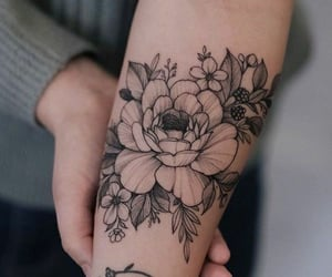 flowers, rose, and forearm image