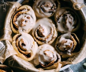 breakfast, delicious, and cinnamon buns image