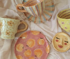 mug, peach, and plate image