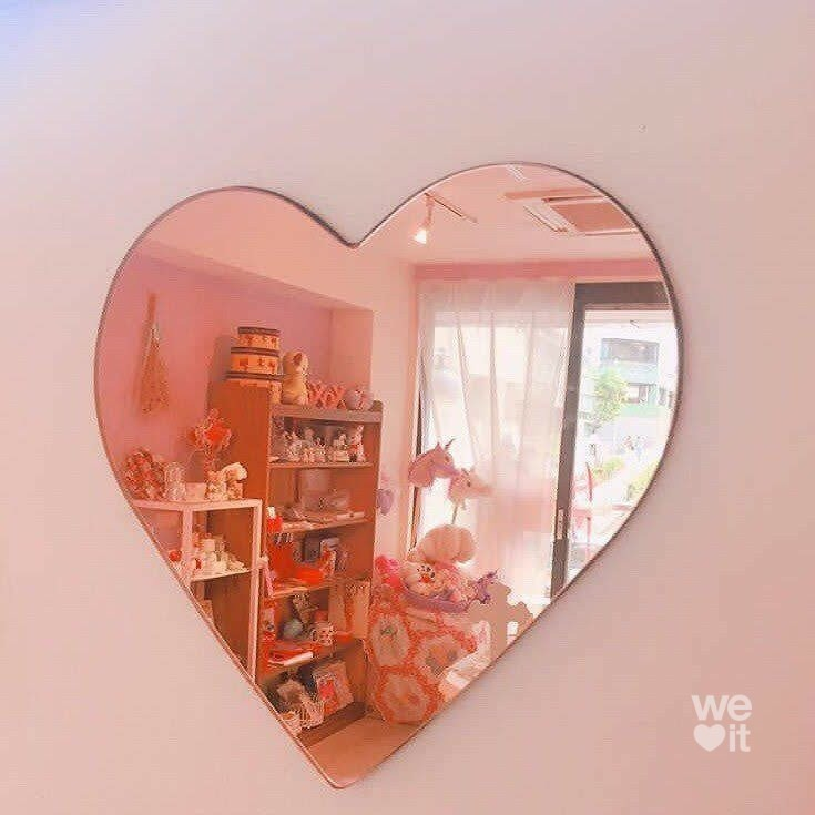 heart, mirror, and peach image
