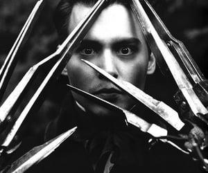 black and white, edward scissor hands, and johnny depp image