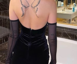 tattoo, butterfly, and dress image