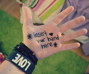 love, hand, and quote image