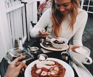 couple, fashion, and waffles image