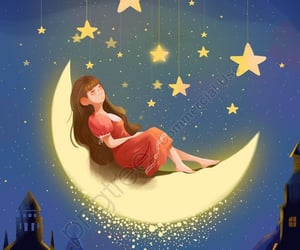 girl, lovely things, and moon image