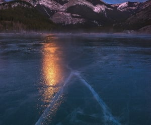 frozen, lake, and landscape image