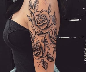arm, woman, and roses image