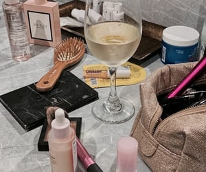 makeup, wine, and beauty image