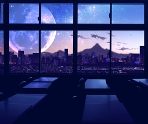moon, art, and buildings image