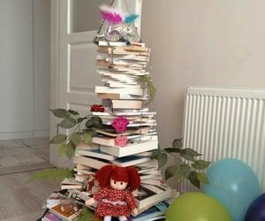 books, christmas, and christmas tree image