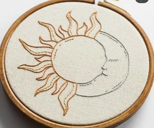 embroidery, moon, and sun image