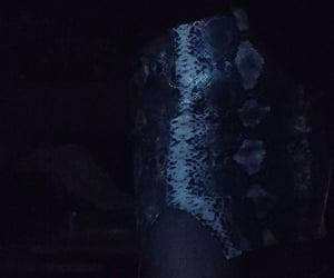 blue, snake print, and dark image