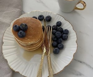 pancakes, coffee, and breakfast image