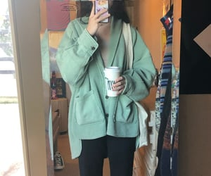 mirror, cardigan, and coffee image