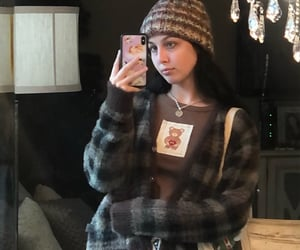 beanie, brown, and cardigan image