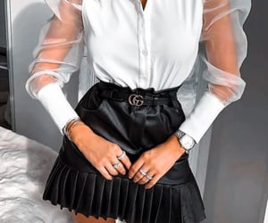 accessories, seethrough, and white blouse image