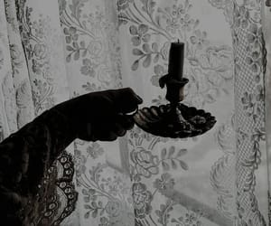 candle, curtains, and hand image