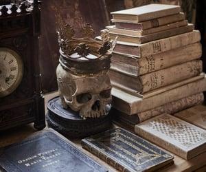 book, skull, and dark academia image