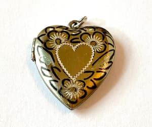 etsy, antique jewelry, and heart photo locket image