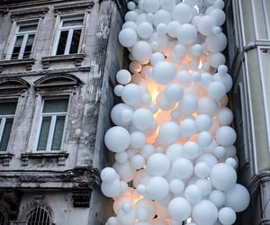 balloons, buildings, and outdoors image