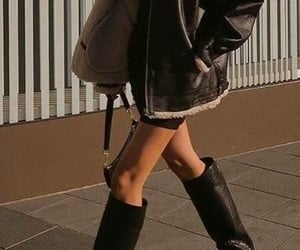 blogger, jimmy choo boots, and modus leather jacket image