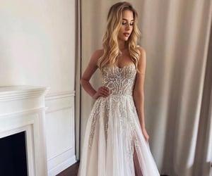 blonde, bride, and dress image