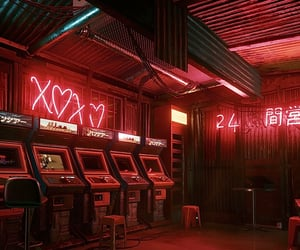 arcade, cyberpunk, and red image