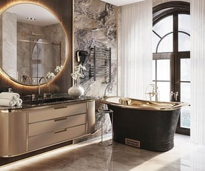 bathroom, bathtub, and dream home image